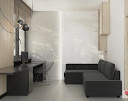 WAR_01 - Małe białe biuro domowe kącik do pracy w pokoju, styl nowoczesny - zdjęcie od InSign Aranżacje i projekty wnętrz