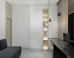 WAR_01 - Średnie szare biuro domowe w pokoju, styl nowoczesny - zdjęcie od InSign Aranżacje i projekty wnętrz
