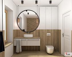 Wy_01 - Mała szara łazienka w bloku w domu jednorodzinnym z oknem, styl industrialny - zdjęcie od InSign Aranżacje i projekty wnętrz