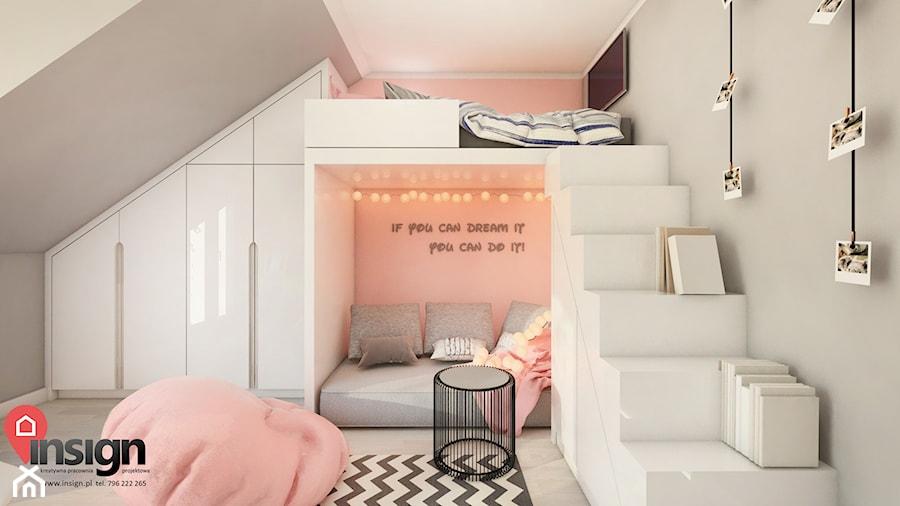 Cz_01 pokój starszej siostry - Średni szary różowy pokój dziecka dla chłopca dla dziewczynki dla rodzeństwa dla malucha dla nastolatka, styl nowoczesny - zdjęcie od InSign Aranżacje i projekty wnętrz