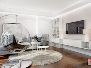 KAT_03 - Duży biały salon z bibiloteczką z jadalnią, styl glamour - zdjęcie od InSign Aranżacje i projekty wnętrz
