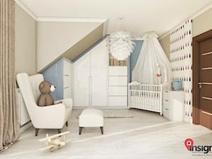 Ch_01 Pokój Antosia - Średni szary niebieski pokój dziecka dla chłopca dla dziewczynki dla niemowlaka, styl nowoczesny - zdjęcie od InSign Aranżacje i projekty wnętrz