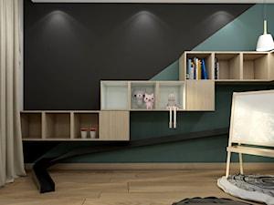 IM_01 - Średni biały turkusowy czarny pokój dziecka dla dziewczynki dla malucha, styl nowoczesny - zdjęcie od InSign Aranżacje i projekty wnętrz