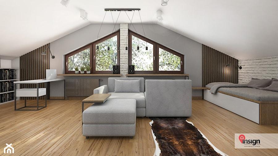 Aranżacje wnętrz - Biuro: Rzg_01 - Duże białe biuro domowe kącik do pracy na poddaszu w pokoju, styl industrialny - InSign Aranżacje i projekty wnętrz. Przeglądaj, dodawaj i zapisuj najlepsze zdjęcia, pomysły i inspiracje designerskie. W bazie mamy już prawie milion fotografii!