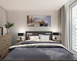 MYS_02 - Mała beżowa biała sypialnia małżeńska z balkonem / tarasem, styl tradycyjny - zdjęcie od InSign Aranżacje i projekty wnętrz