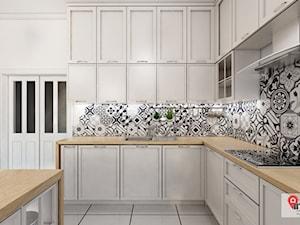 GLI_01 - Średnia zamknięta biała czarna kuchnia w kształcie litery g, styl tradycyjny - zdjęcie od InSign Aranżacje i projekty wnętrz