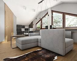 Rzg_01 - Duże szare biuro domowe na poddaszu w pokoju, styl industrialny - zdjęcie od InSign Aranżacje i projekty wnętrz
