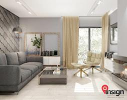 Ch_01 - Mały szary salon z bibiloteczką z tarasem / balkonem, styl nowoczesny - zdjęcie od InSign Aranżacje i projekty wnętrz