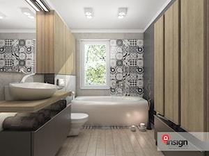 Ł_01 - Duża biała beżowa czarna szara łazienka z oknem - zdjęcie od InSign Aranżacje i projekty wnętrz