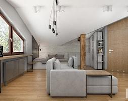 Rzg_01 - Średnia biała szara sypialnia małżeńska na poddaszu, styl industrialny - zdjęcie od InSign Aranżacje i projekty wnętrz