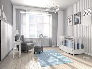 Nowoczesne mieszkanie w kamienicy - Średni biały szary pokój dziecka dla dziewczynki dla malucha, styl skandynawski - zdjęcie od Formea Studio