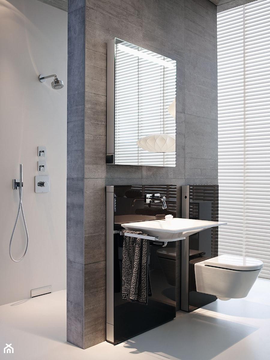 Geberit Monolith - Mała biała szara łazienka na poddaszu w bloku w domu jednorodzinnym z oknem, styl nowoczesny - zdjęcie od Geberit