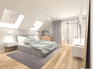 SYPIALNIA 01 - Duża biała szara sypialnia małżeńska na poddaszu z balkonem / tarasem, styl skandynawski - zdjęcie od MOTIF