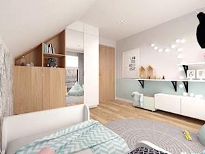 Pokój dziecięcy - Średni szary pastelowy miętowy pokój dziecka dla dziewczynki dla nastolatka, styl skandynawski - zdjęcie od MOTIF