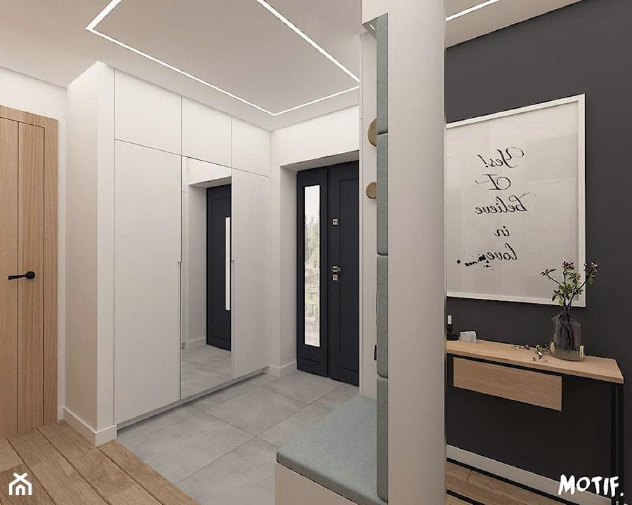 Hol Salon Z Otwartą Kuchnią średni Biały Czarny Hol