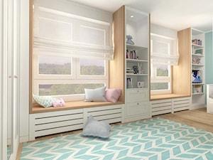 POKÓJ DZIECIĘCY W STYLU SKANDYNAWSKIM - Duży miętowy pokój dziecka dla chłopca dla dziewczynki dla rodzeństwa dla malucha, styl skandynawski - zdjęcie od MOTIF