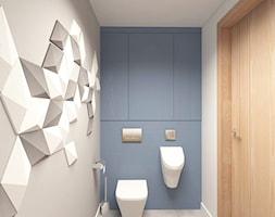 MAŁA ŁAZIENKA - Mała niebieska szara łazienka na poddaszu w bloku w domu jednorodzinnym bez okna, styl skandynawski - zdjęcie od MOTIF