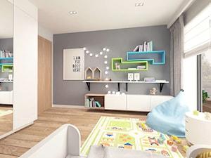 Pokój dziecięcy - Średni biały szary pokój dziecka dla chłopca dla dziewczynki dla malucha, styl nowoczesny - zdjęcie od MOTIF
