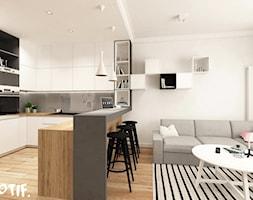 Tamka 29- I propozycja - Średnia otwarta biała szara kuchnia w kształcie litery u w aneksie z wyspą, styl skandynawski - zdjęcie od MOTIF