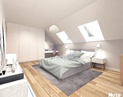 SYPIALNIA 01 - Duża biała szara sypialnia małżeńska na poddaszu, styl skandynawski - zdjęcie od MOTIF