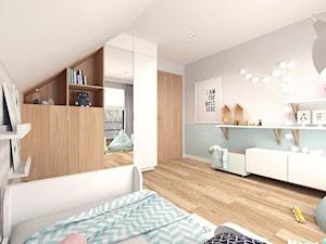 Pokój dziecięcy - Średni biały pastelowy miętowy pokój dziecka dla dziewczynki dla nastolatka, styl skandynawski - zdjęcie od MOTIF