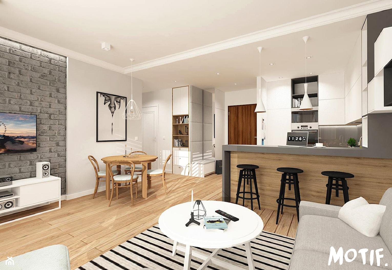 Tamka 29- I propozycja - Średni szary biały salon z barkiem z kuchnią z jadalnią, styl skandynawski - zdjęcie od MOTIF - Homebook
