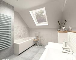 ŁAZIENKA III - Średnia beżowa łazienka na poddaszu w domu jednorodzinnym z oknem, styl nowoczesny - zdjęcie od MOTIF