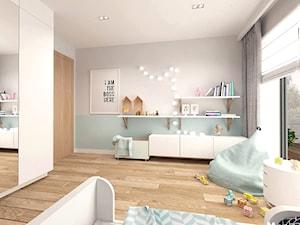 Pokój dziecięcy - Duży szary miętowy pokój dziecka dla dziewczynki dla malucha, styl skandynawski - zdjęcie od MOTIF