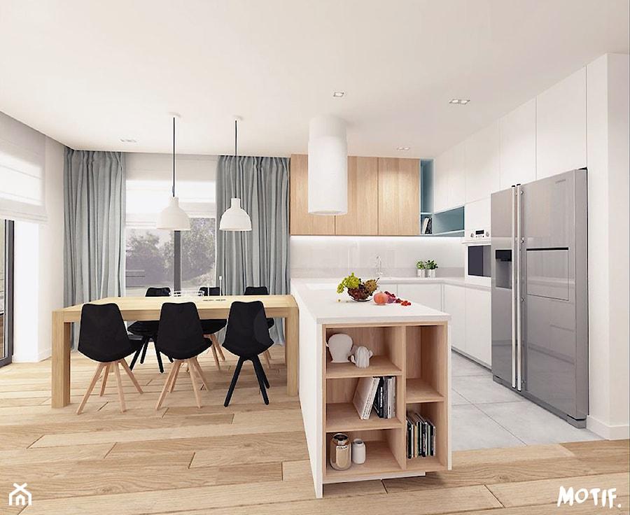 HOL/ SALON Z OTWARTĄ KUCHNIĄ - Średnia otwarta biała kuchnia w kształcie litery u z wyspą, styl skandynawski - zdjęcie od MOTIF