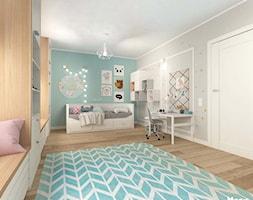 POKÓJ DZIECIĘCY W STYLU SKANDYNAWSKIM - Średni biały szary miętowy pokój dziecka dla dziewczynki dla ucznia dla nastolatka, styl skandynawski - zdjęcie od MOTIF