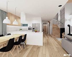 HOL/ SALON Z OTWARTĄ KUCHNIĄ - Mały biały salon z kuchnią z jadalnią, styl skandynawski - zdjęcie od MOTIF