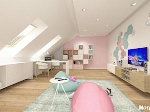 Duży biały pastelowy miętowy różowy pokój dziecka dla dziewczynki dla ucznia dla malucha, styl skandynawski - zdjęcie od MOTIF