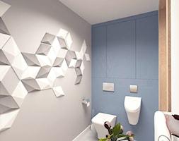 MAŁA ŁAZIENKA - Mała szara łazienka na poddaszu w bloku w domu jednorodzinnym bez okna, styl skandynawski - zdjęcie od MOTIF