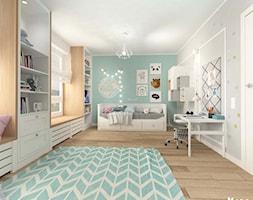 POKÓJ DZIECIĘCY W STYLU SKANDYNAWSKIM - Duży biały szary miętowy pokój dziecka dla dziewczynki dla m ... - zdjęcie od MOTIF - Homebook