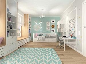 POKÓJ DZIECIĘCY W STYLU SKANDYNAWSKIM - Duży biały szary miętowy pokój dziecka dla dziewczynki dla malucha, styl skandynawski - zdjęcie od MOTIF