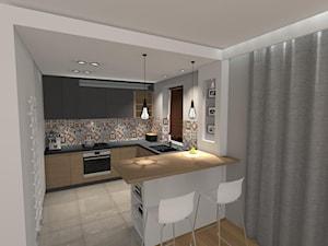 Męska kuchnia - Średnia otwarta biała kuchnia w kształcie litery u w aneksie z oknem, styl nowoczesny - zdjęcie od Bopracownia wnętrz