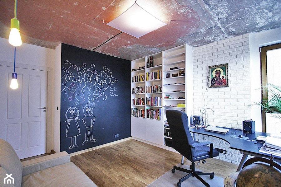 RADOSŁAWA - Średnie czarne białe biuro kącik do pracy w pokoju, styl eklektyczny - zdjęcie od Bogaczewicz Architecture Studio