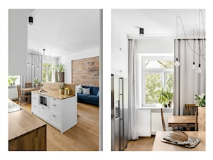 ALEJE UJAZDOWSKIE - Mała otwarta biała kuchnia dwurzędowa w aneksie z wyspą z oknem, styl eklektyczny - zdjęcie od Bogaczewicz Architecture Studio