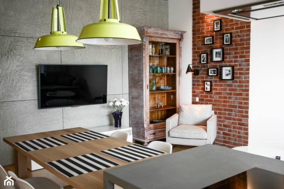 U ASI I SZYMONA - Mały szary biały salon z kuchnią z jadalnią, styl eklektyczny - zdjęcie od Bogaczewicz Architecture Studio - Homebook
