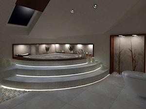 Dom w Wilkowie 2 - Średnia duża biała łazienka na poddaszu w domu jednorodzinnym jako salon kąpielowy jako domowe spa z oknem, styl nowoczesny - zdjęcie od Pracownia WAŻKA