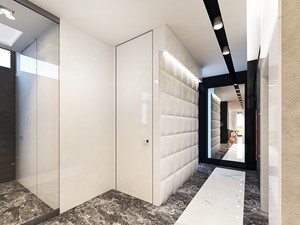 Projekt apartamentu w Gdyni - Średni biały czarny hol / przedpokój, styl nowoczesny - zdjęcie od Arte Dizain