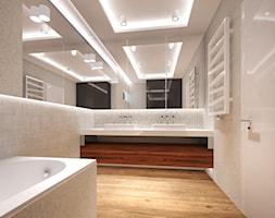 Dom w Murowańcu - Średnia beżowa łazienka w bloku w domu jednorodzinnym z oknem - zdjęcie od Arte Dizain