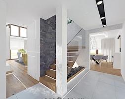 Wnętrza domu w okolicy Gdańska - Małe wąskie schody dwubiegowe metalowe, styl nowoczesny - zdjęcie od Arte Dizain