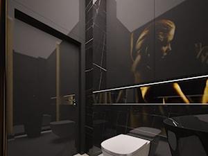 Penthouse w Gdańsku - Mała czarna łazienka na poddaszu w bloku w domu jednorodzinnym bez okna - zdjęcie od Arte Dizain