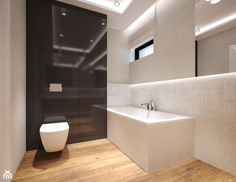 Dom w Murowańcu - Średnia beżowa czarna łazienka w bloku w domu jednorodzinnym z oknem - zdjęcie od Arte Dizain