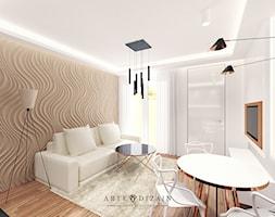 Wizualizacja wnętrz apartamentów w Sopocie - Mały biały brązowy salon z jadalnią, styl nowoczesny - zdjęcie od Arte Dizain