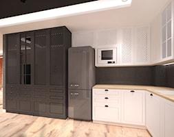 Dom w Gdańsku Ujeścisku - Średnia otwarta czarna kuchnia w kształcie litery l w aneksie - zdjęcie od Arte Dizain