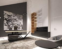 Dom w Sztumie - Duże czarne białe biuro pracownia na poddaszu w pokoju - zdjęcie od Arte Dizain