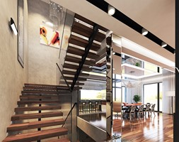 Projekt apartamentu w Gdyni - Średnie wąskie schody dwubiegowe drewniane metalowe, styl nowoczesny - zdjęcie od Arte Dizain