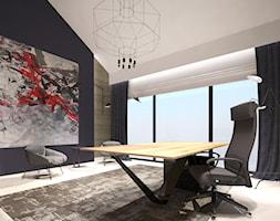 Dom w Sztumie - Duże czarne biuro pracownia na poddaszu w pokoju - zdjęcie od Arte Dizain